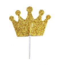 12 Glitter Crowns Cake Toppers